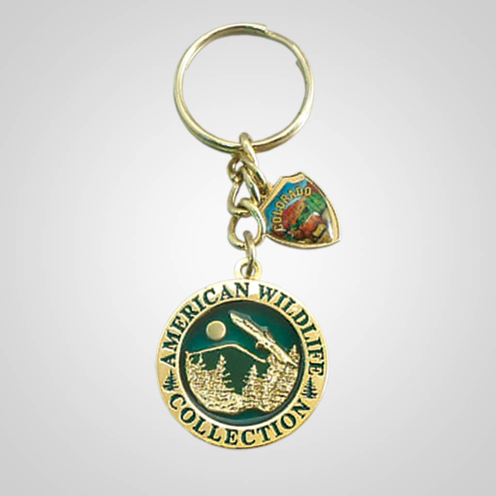17179 - Round Keychain With Shield Charm, Eagle