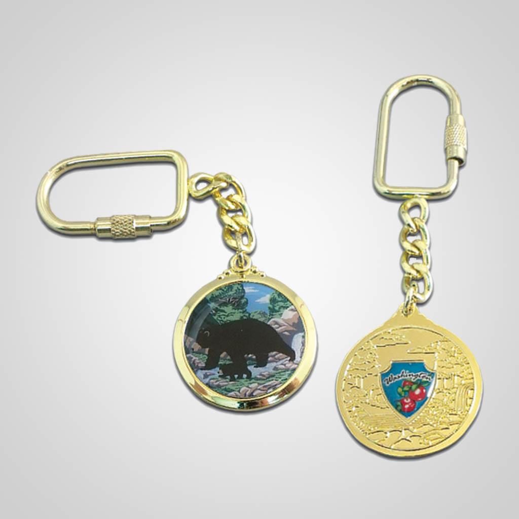 17180 - Gold-Tone Shield Keychain, Bear