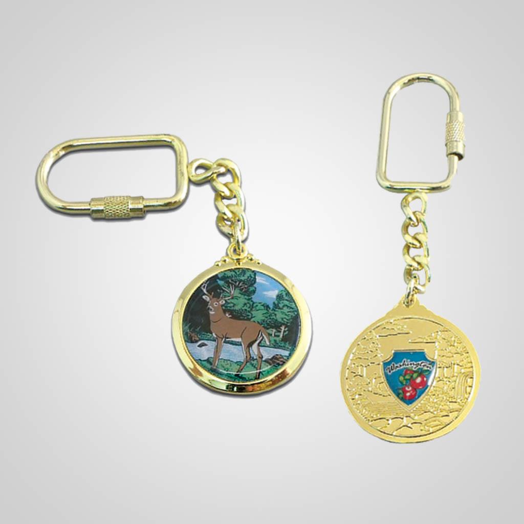 17181 - Gold-Tone Shield Keychain, Deer