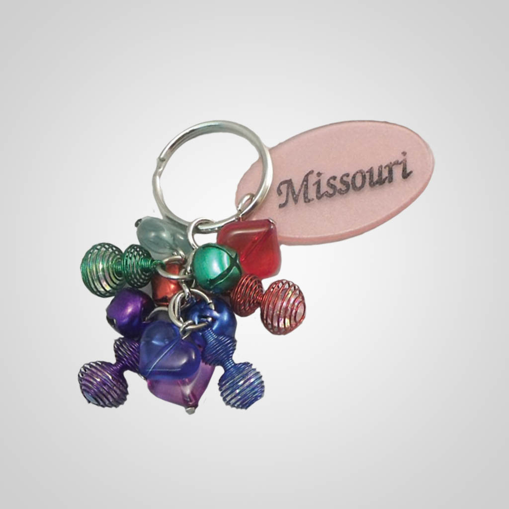 17183 - Beads & Springs Keychain, Name-Drop