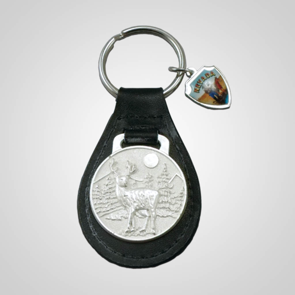 17644 - Deer Relief Key Fob With Shield