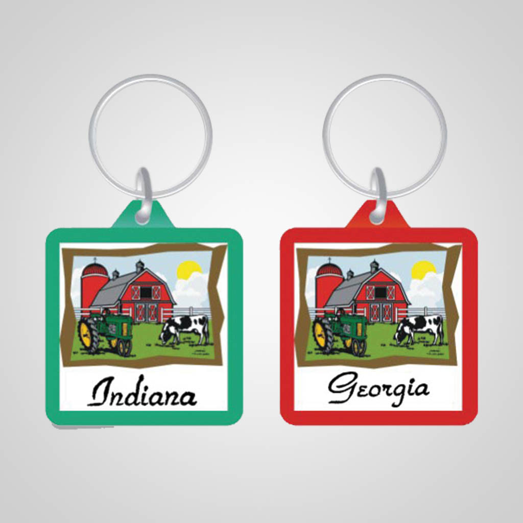 17657 - Square Farm Keychain, Name-Drop