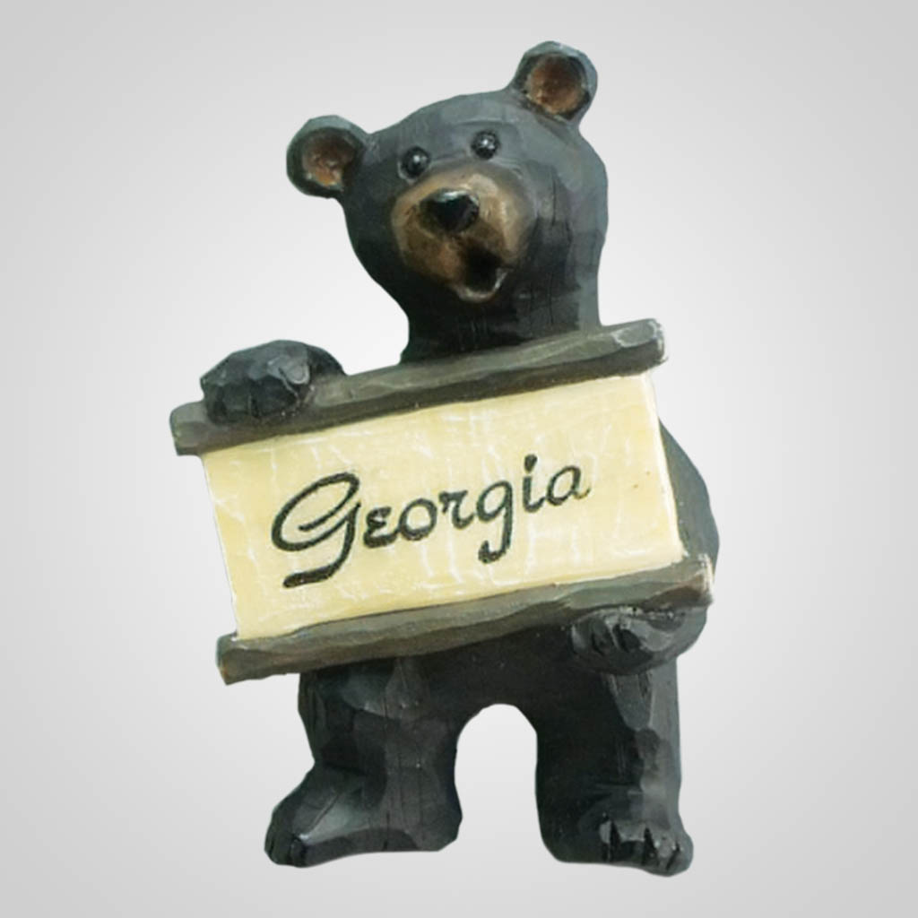 17896 - Carved-Look Bear With Sign, Name-Drop