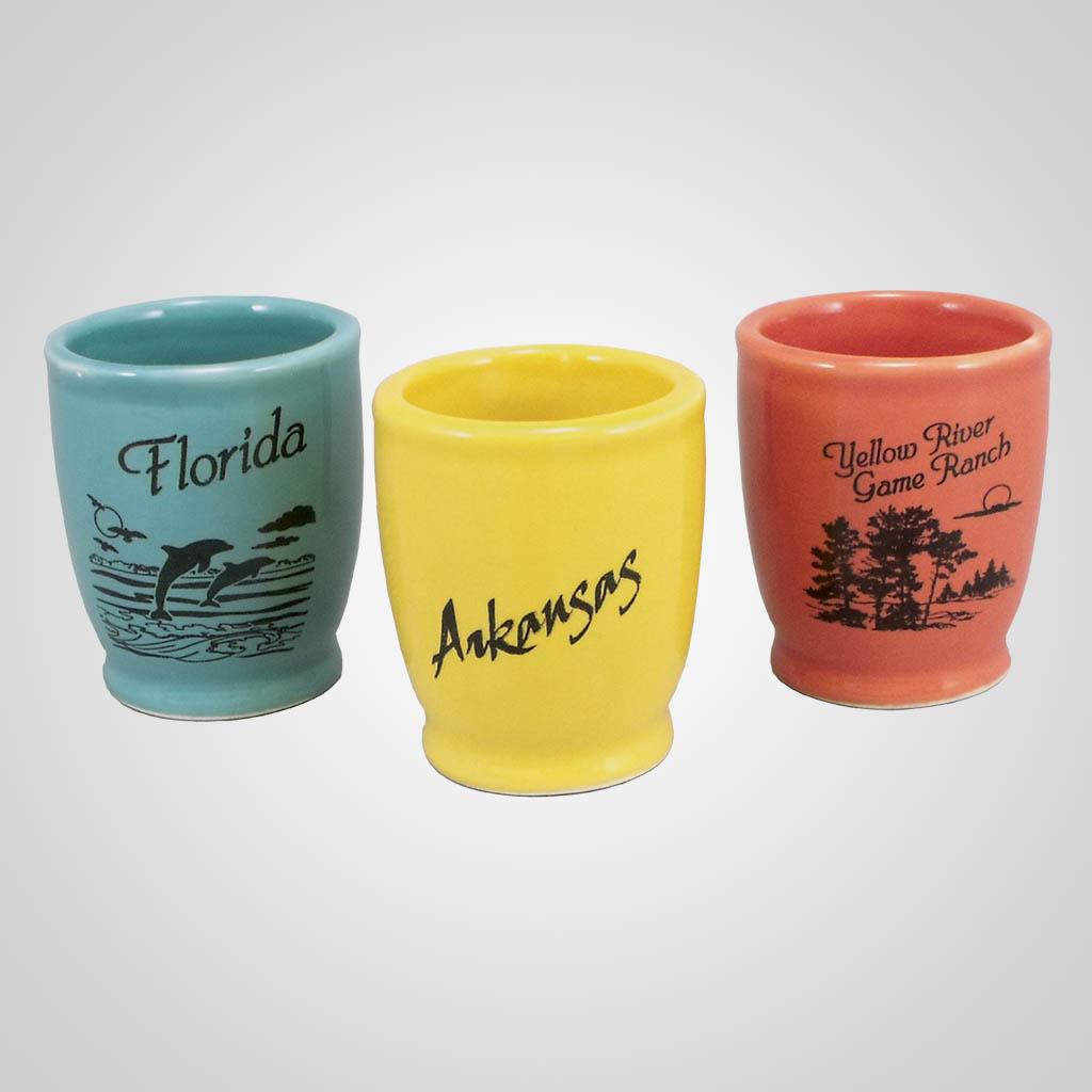 17944PP - Taper Footed Ceramic Shot Glass, 1 Color Print