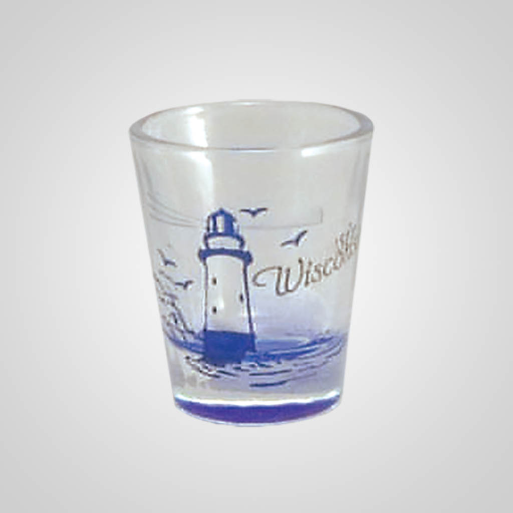 17977PP - Lighthouse Etch Color-Fill Shot Glass - Imprinted