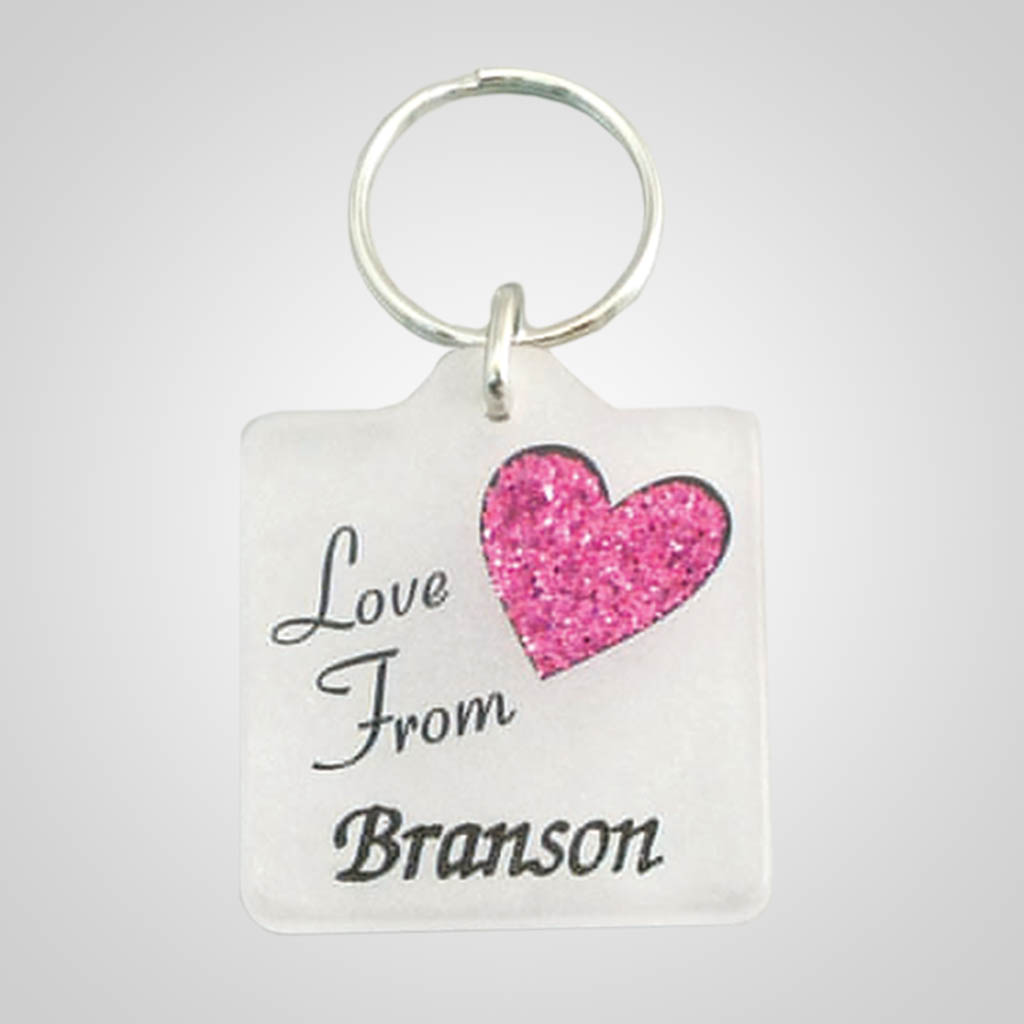17985 - Heart Translucent Acrylic Keychain, Name-Drop