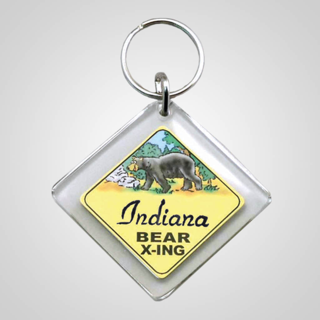 18000 - Bear X-ing Sign Keychain