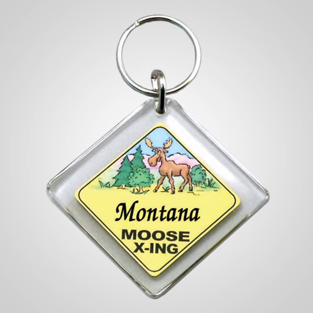 18002 - Moose X-ing Sign Keychain