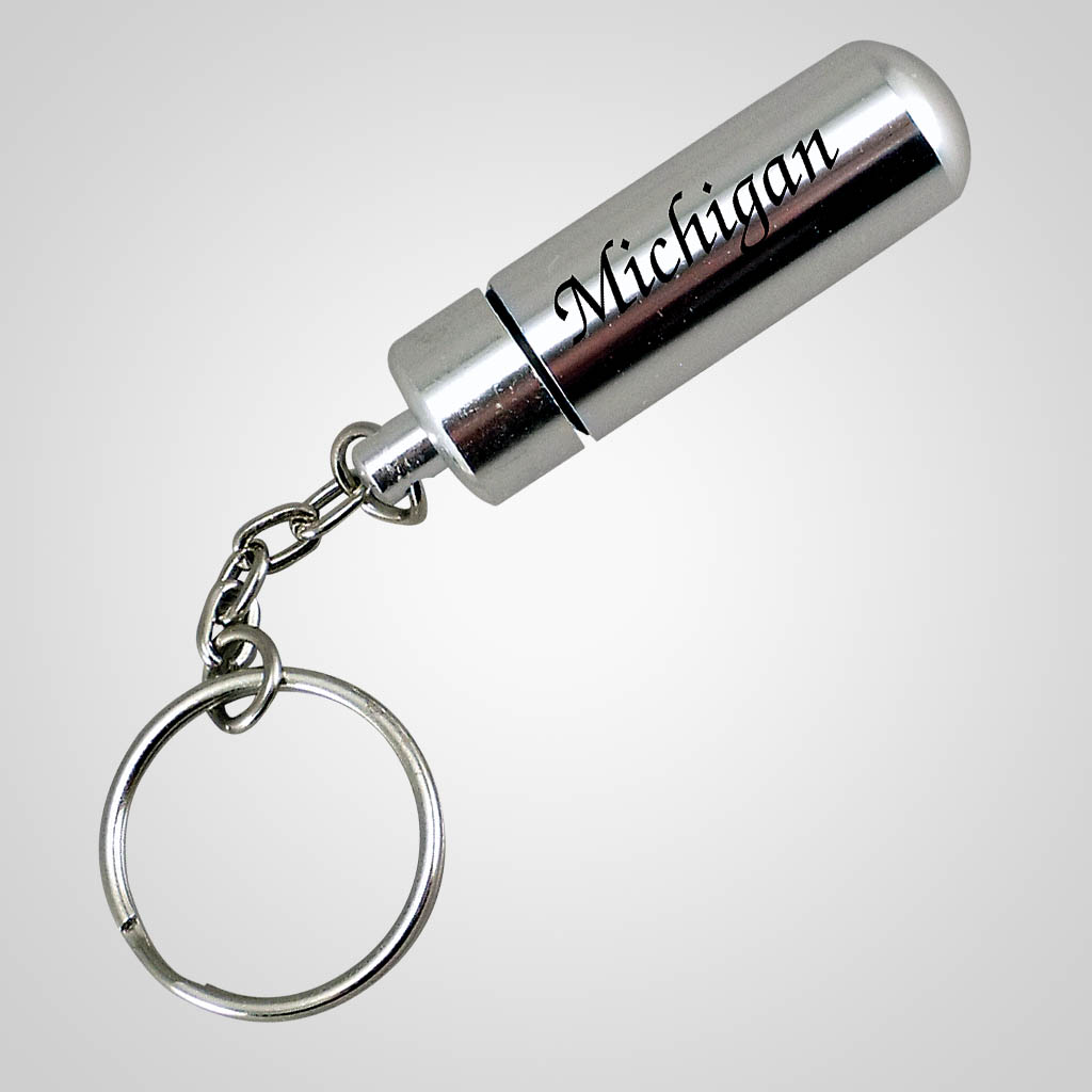 18089 - Aluminum Pill Case Keychain, Name-Drop