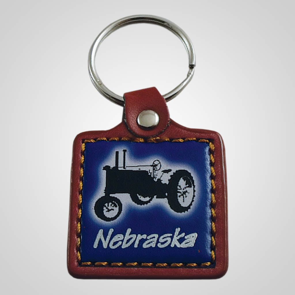 18108 - Leather Fob Tractor Keychain, Name-Drop