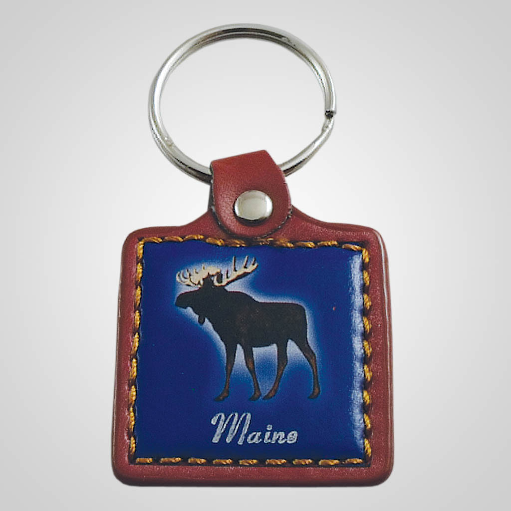18110 - Leather Fob Moose Keychain, Name-Drop