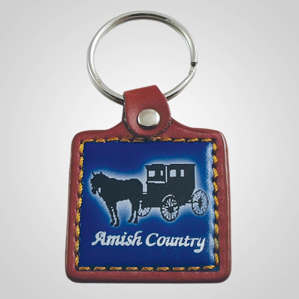 18113 - Leather Fob Amish Buggy Keychain, Name-Drop