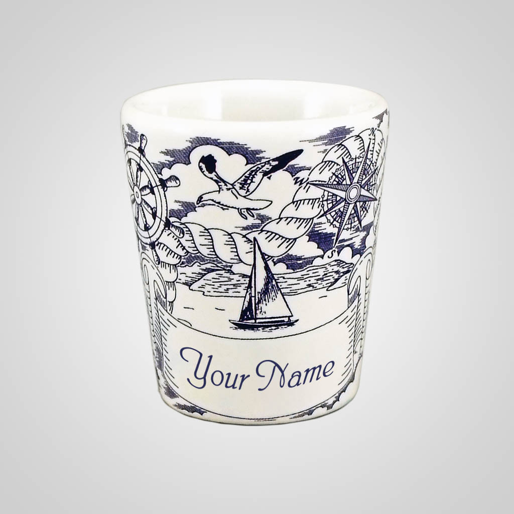 18289PP - Nautical Pencil Sketch Shot Glass, Name-Drop