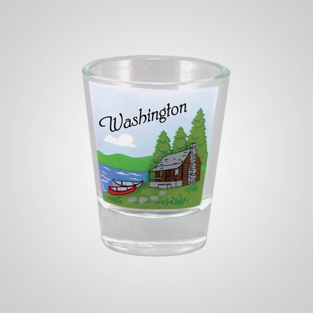 18298PP - Lake Cabin Shot Glass, Name-Drop