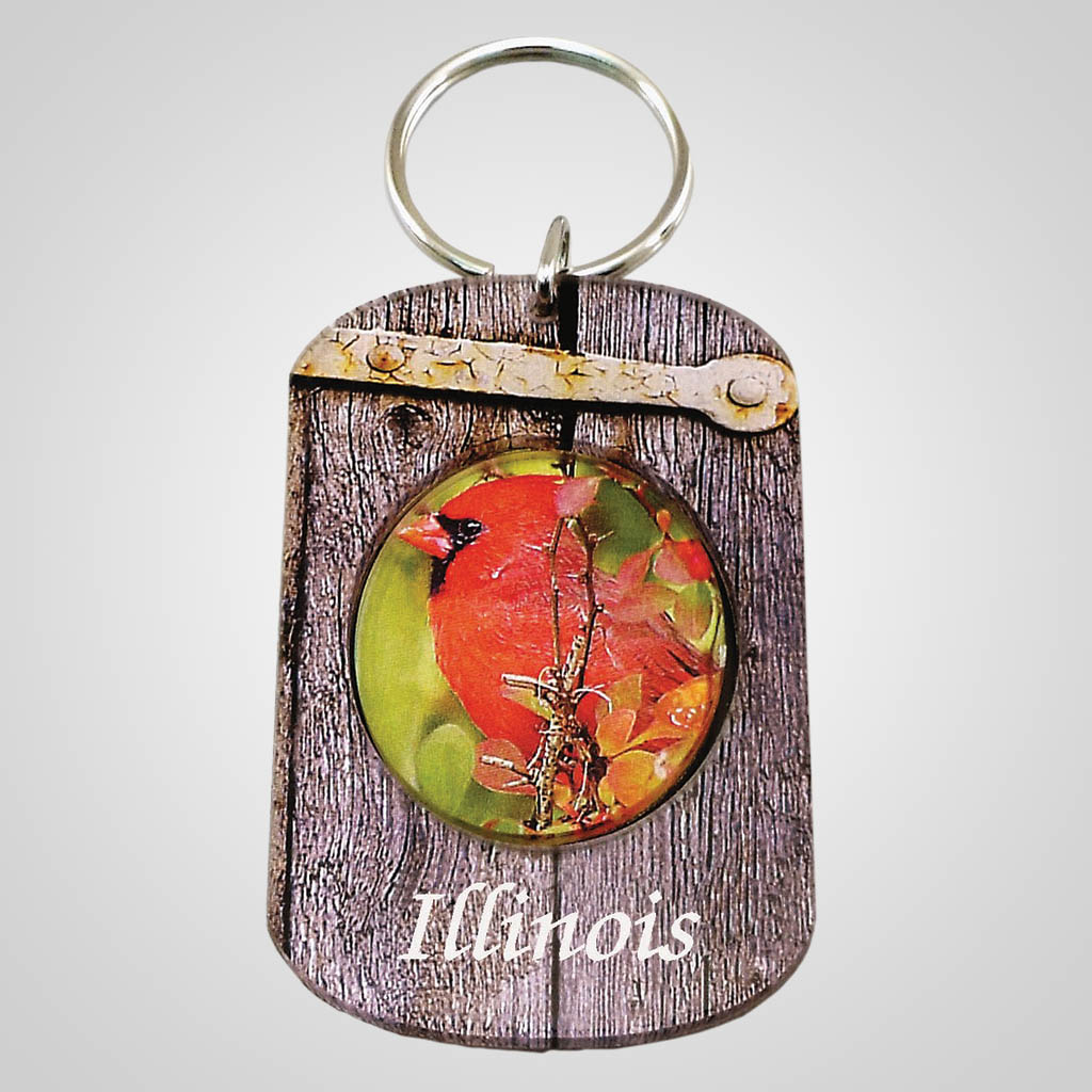 18306 - Cardinal Acrylic Spinner Keychain, Name-Drop