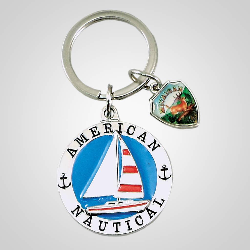 18312 - Sailboat Keychain With Shield Charm
