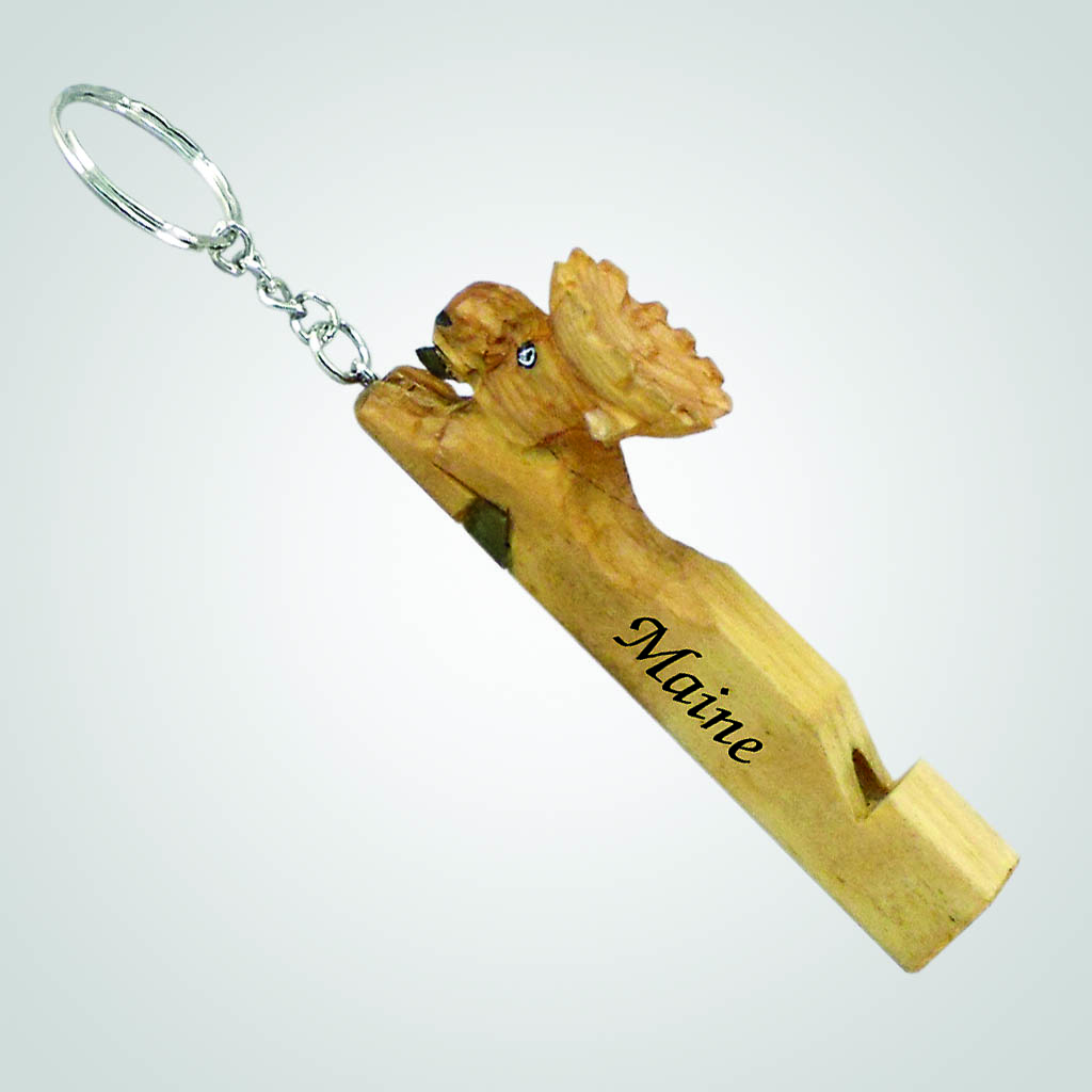 18448 - Wood Moose Whistle Keychain, Name-Drop