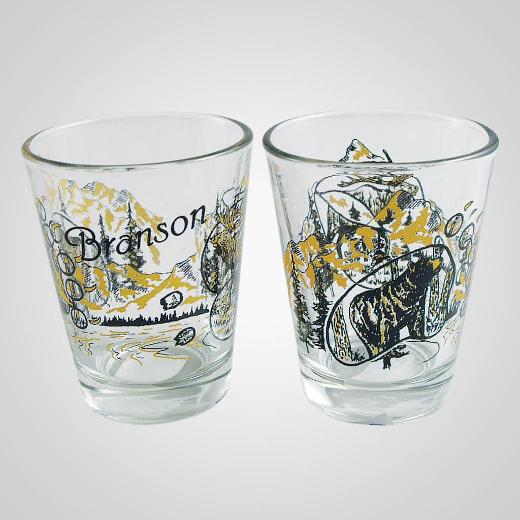 18456PP - Elk/Bear Shot Glass, Name-Drop
