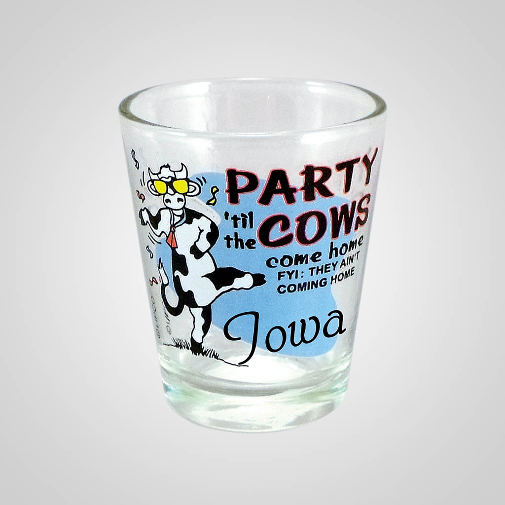 18465PP - Party Cows Come Home Shot Glass, Name-Drop