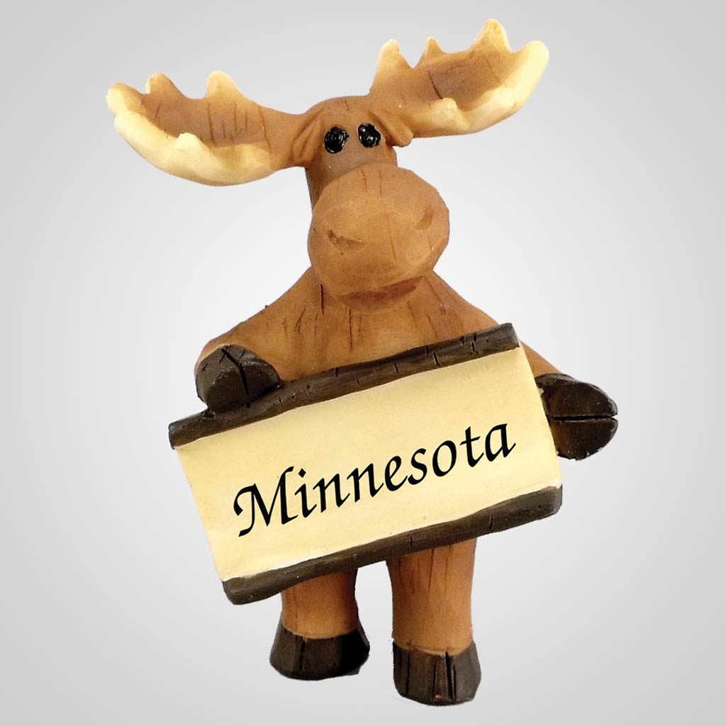 18495 - Moose Figurine With Sign, Name-Drop