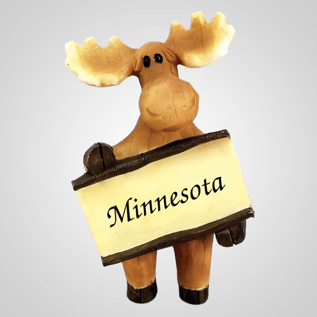 18496 - Carved-Look Moose With Sign, Name-Drop