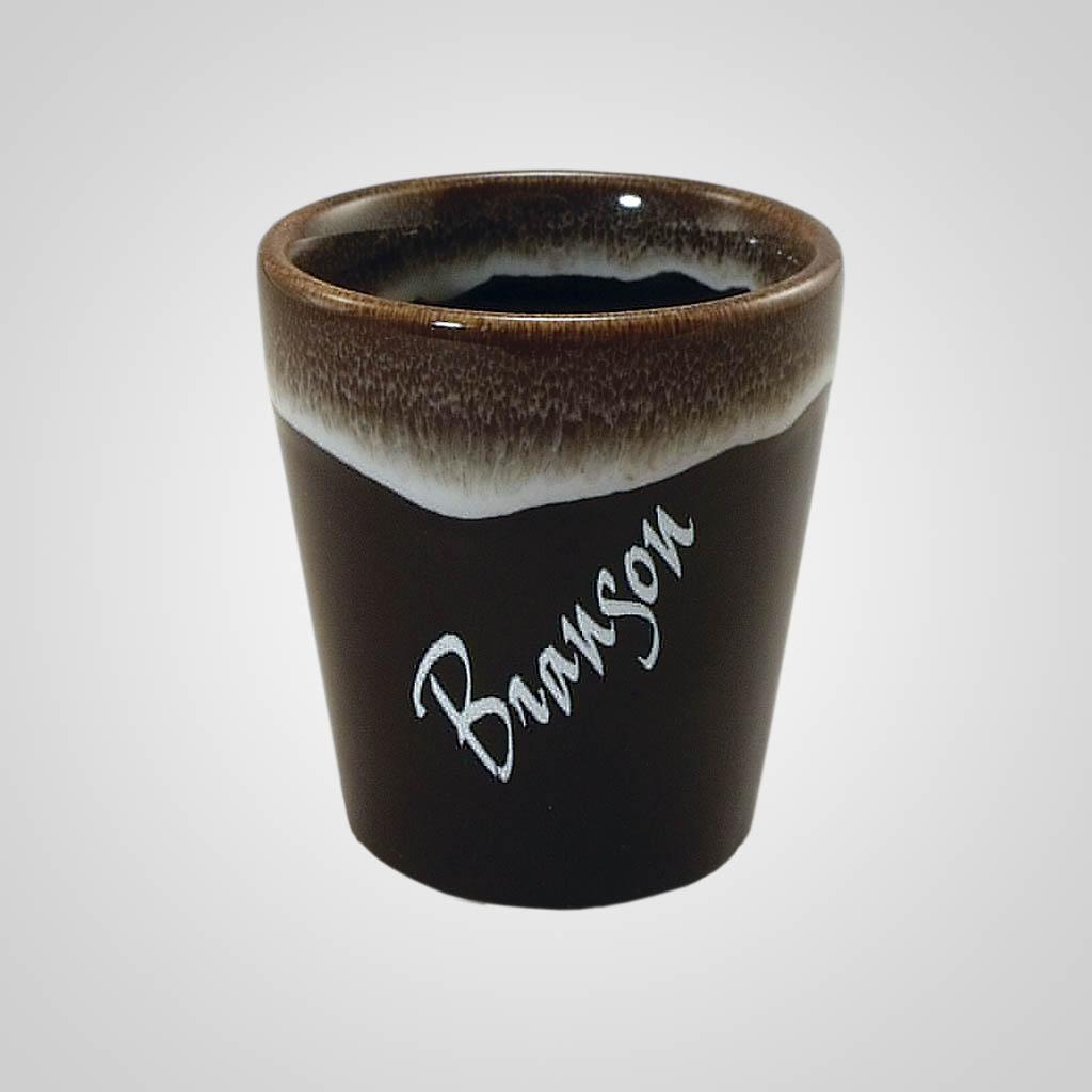 18843PP - Brown drip glaze shot glass
