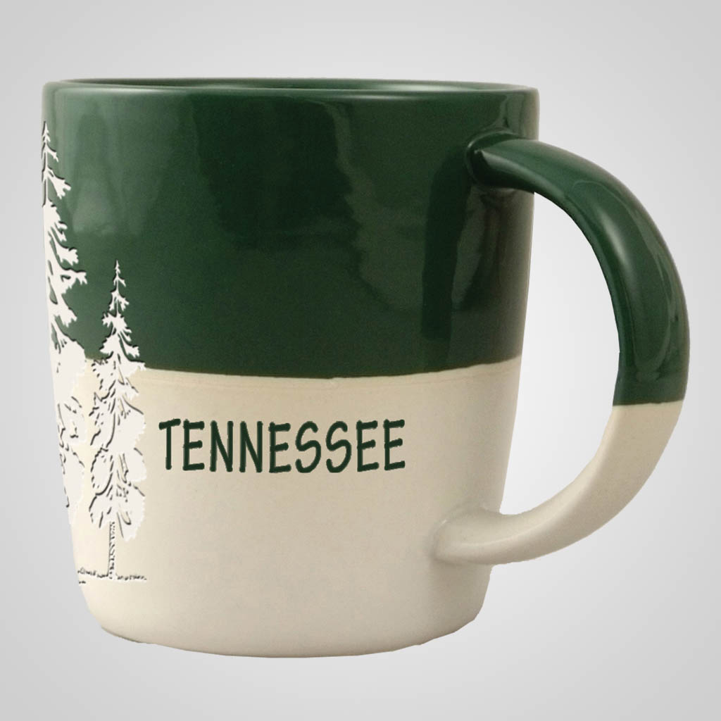 58845MT - Pine Trees Green & White Mug, Name-drop
