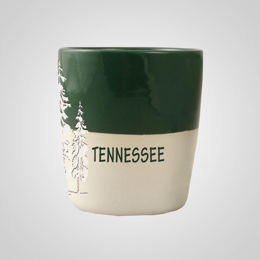 58846MT - Pine Trees Green & White Shot Glass, Name-Drop