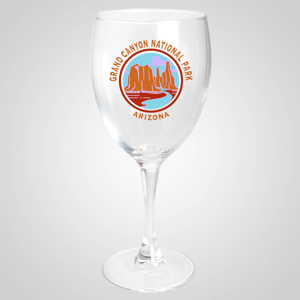 18858PPM - Stemmed Wine Glass, Multi-Color Print