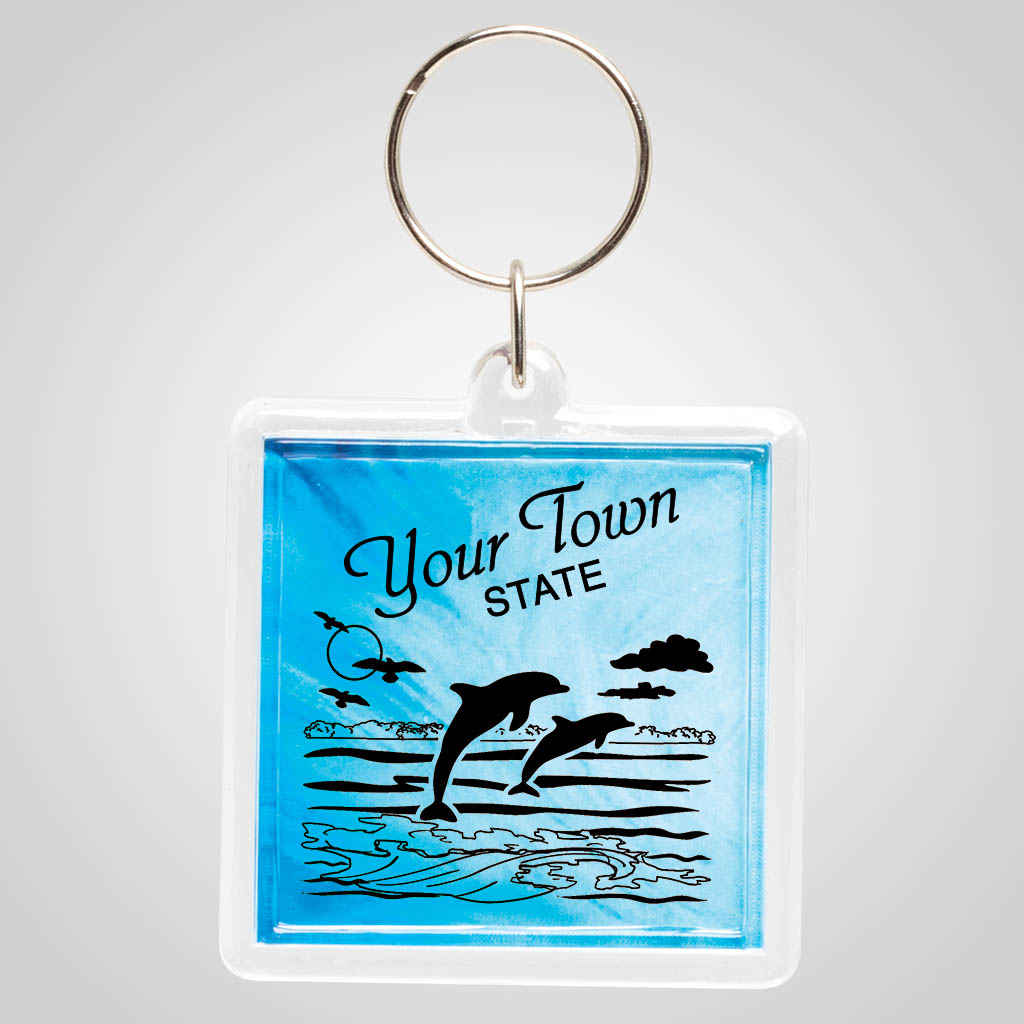 18906JP - Blue Pattern Acrylic Keyring with one color jet print design