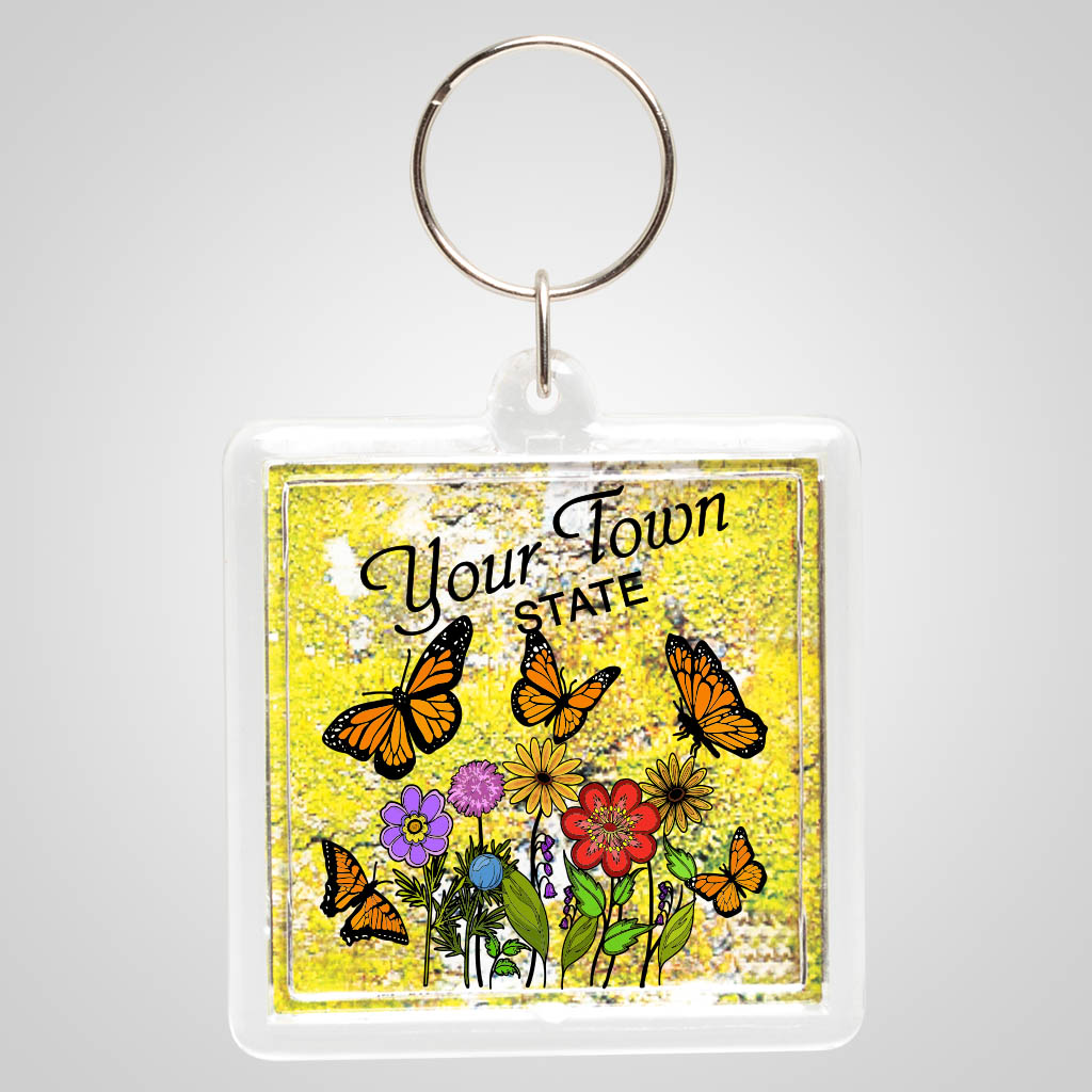 18907JPM - Green Moss Acrylic Keyring with multi color jet print design