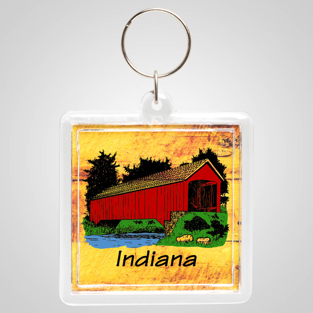 18908JPM - Wood Grain effect Acrylic Keyring with multi color jet print design