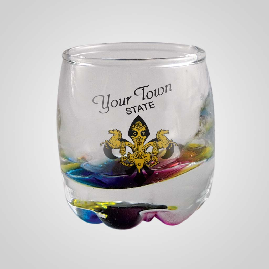 18918PPM - Rainbow Bead Shot Glass - Multi - Color Print