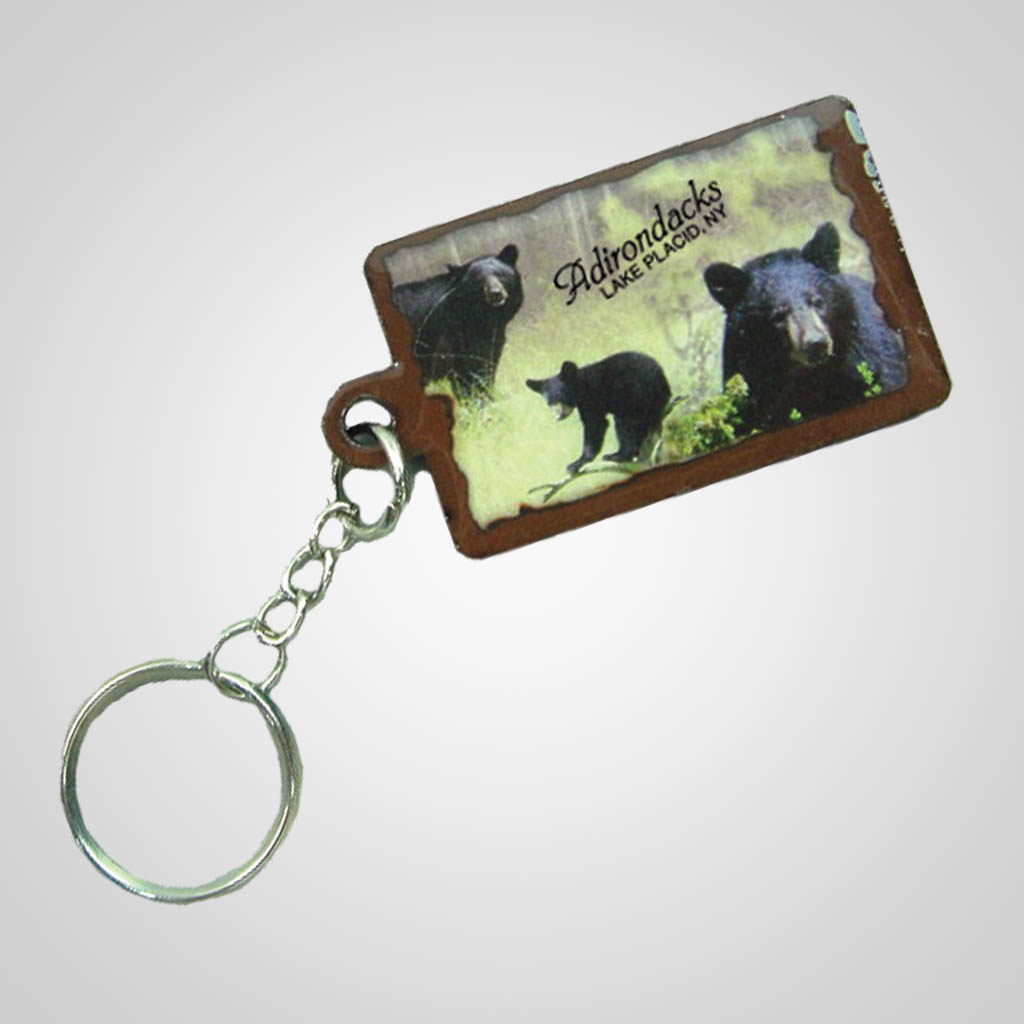 19160 - Black Bear Montage Keychain, Name-Drop