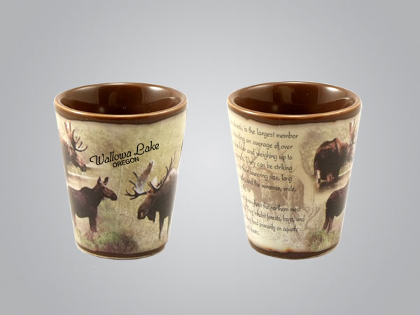 59213ID - Moose Full-Wrap Shot Glass, 1 Color Print