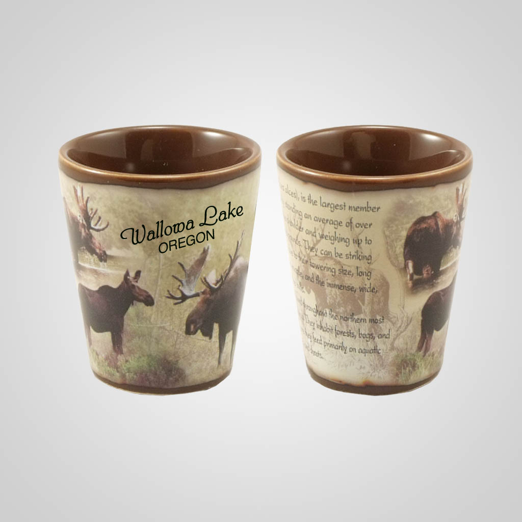 19213PP - Moose Full-Wrap Shot Glass, Name-Drop