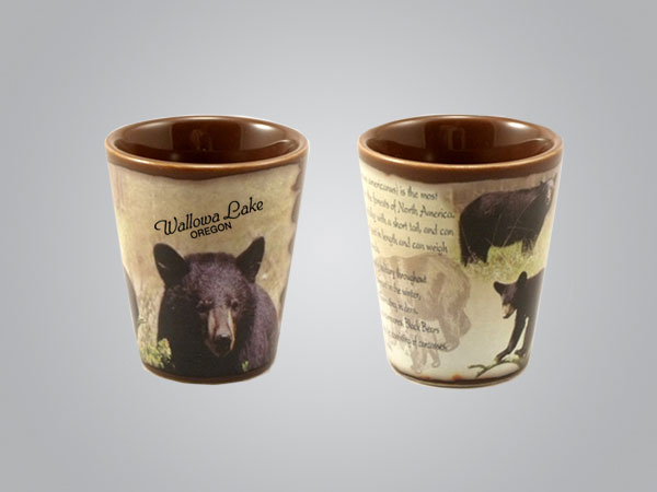 59214MT - Black Bear Full-Wrap Shot Glass, 1 Color Print