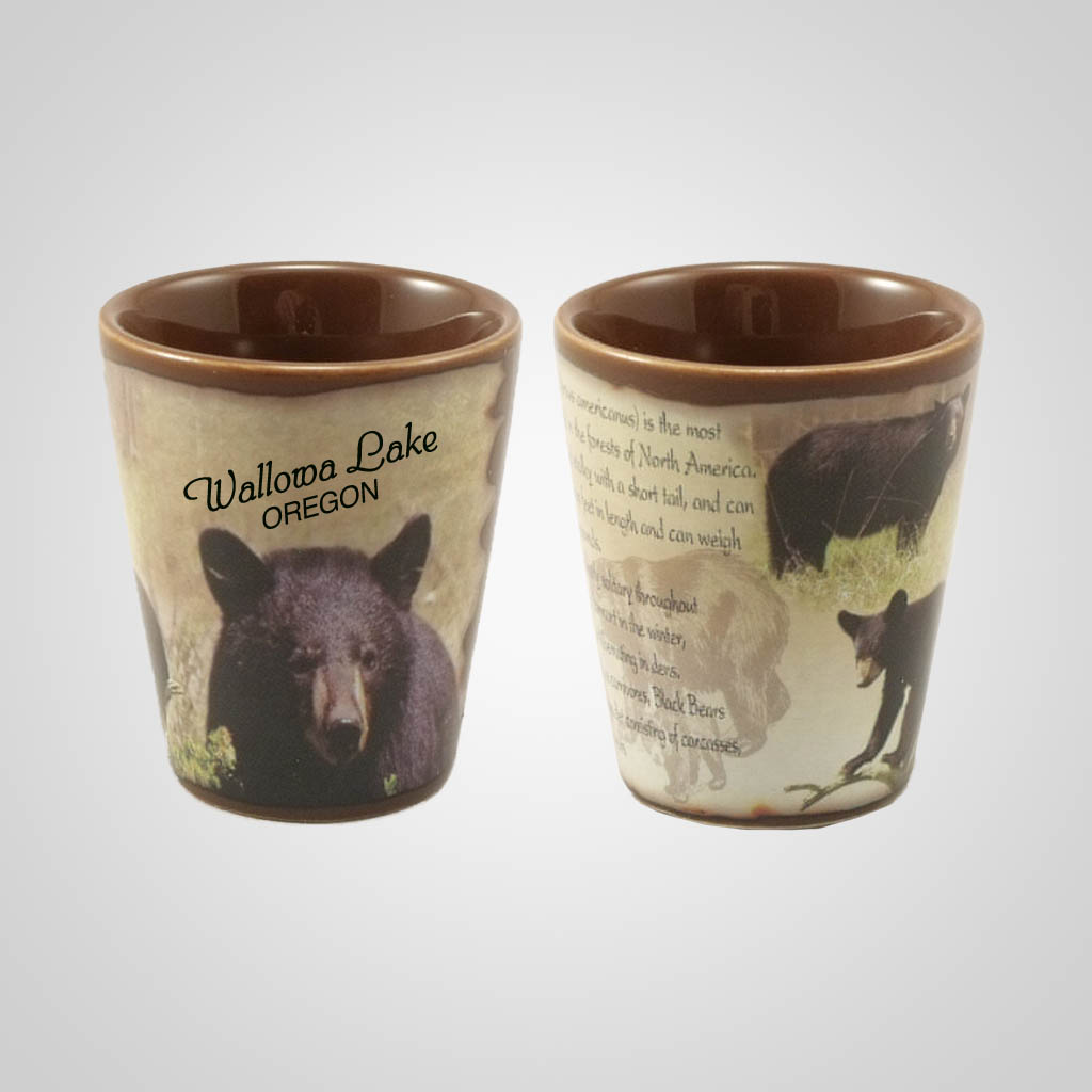 19214PP - Black Bear Full-Wrap Shot Glass, Name-Drop