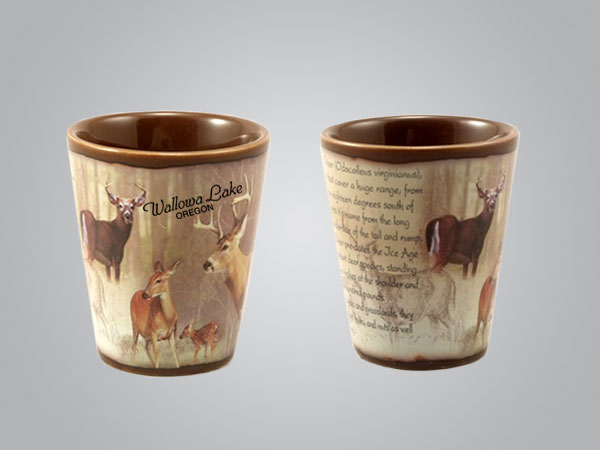 59215MT - Whitetail Deer Full-Wrap Shot Glass, 1 Color Print