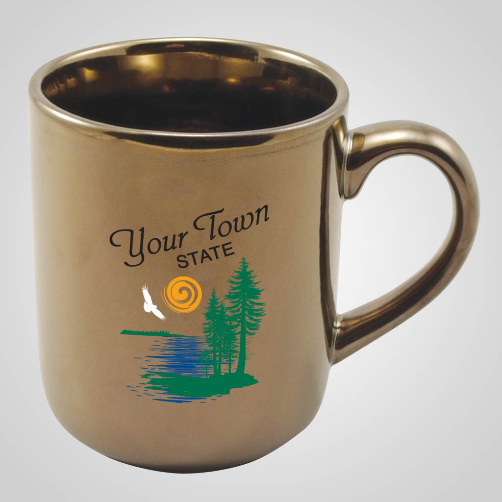 19221PPM - Gold Glaze Round-Bottom Mug, Multi-Color Print