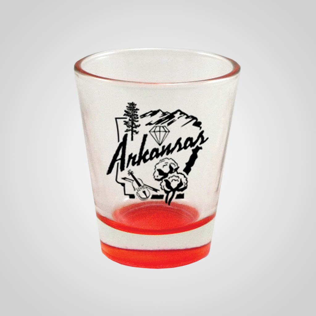19223PPM - Red Bottom Shot Glass, Multi-Color Print
