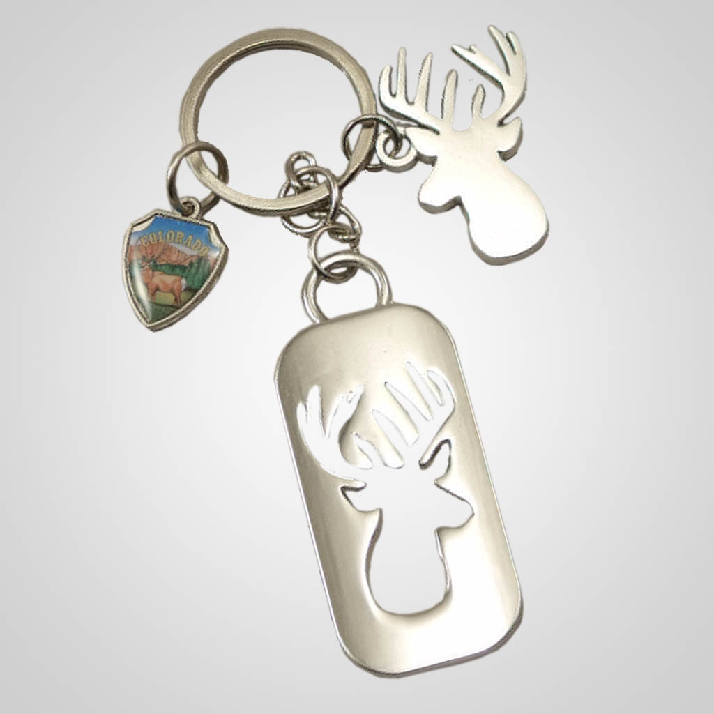 19235 - Cutout Deer Keychain With Shield