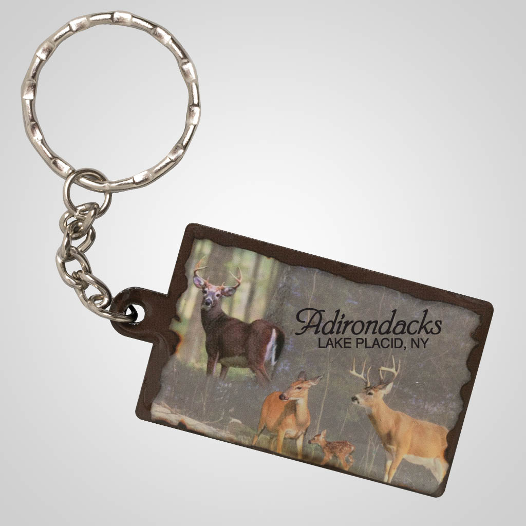 19239 - Whitetail Deer Montage Keychain, Name-Drop