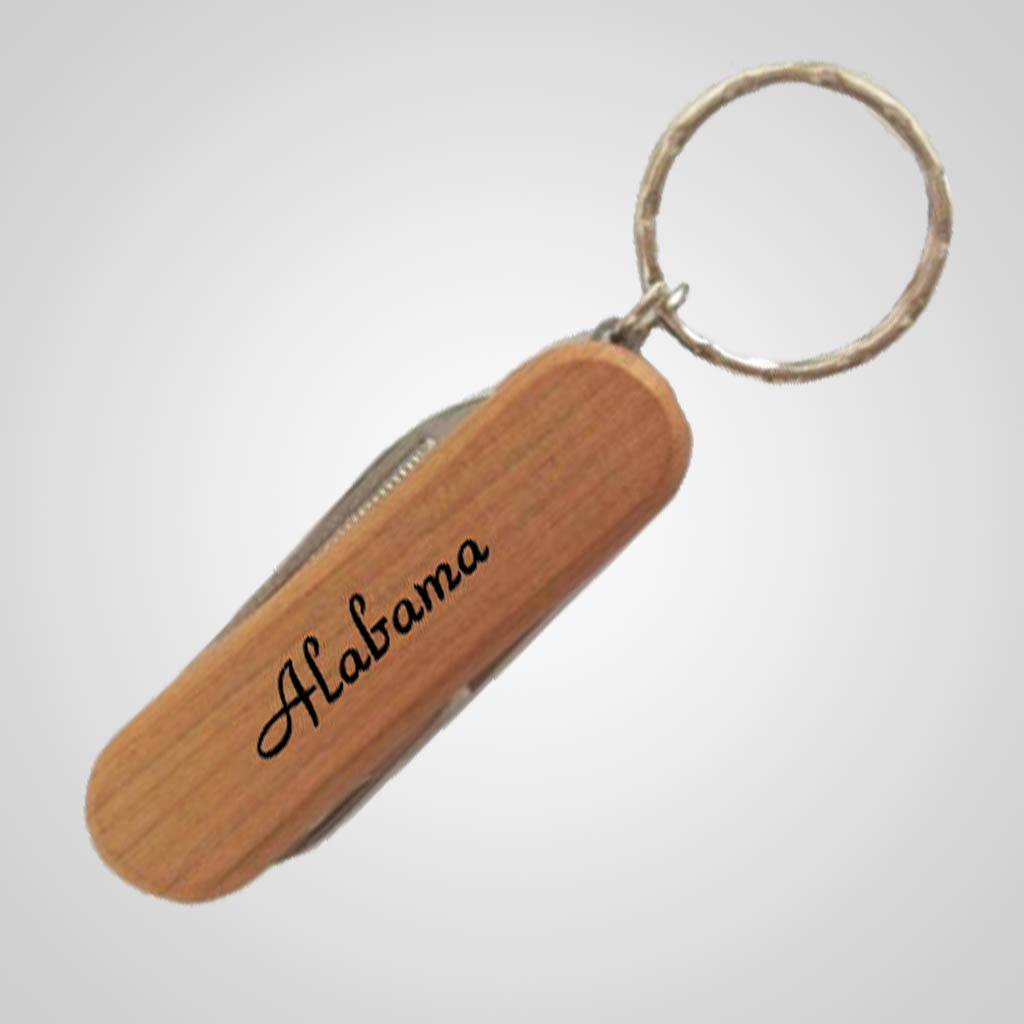 19240 - Wood Pocket Knife Keychain, Name-Drop