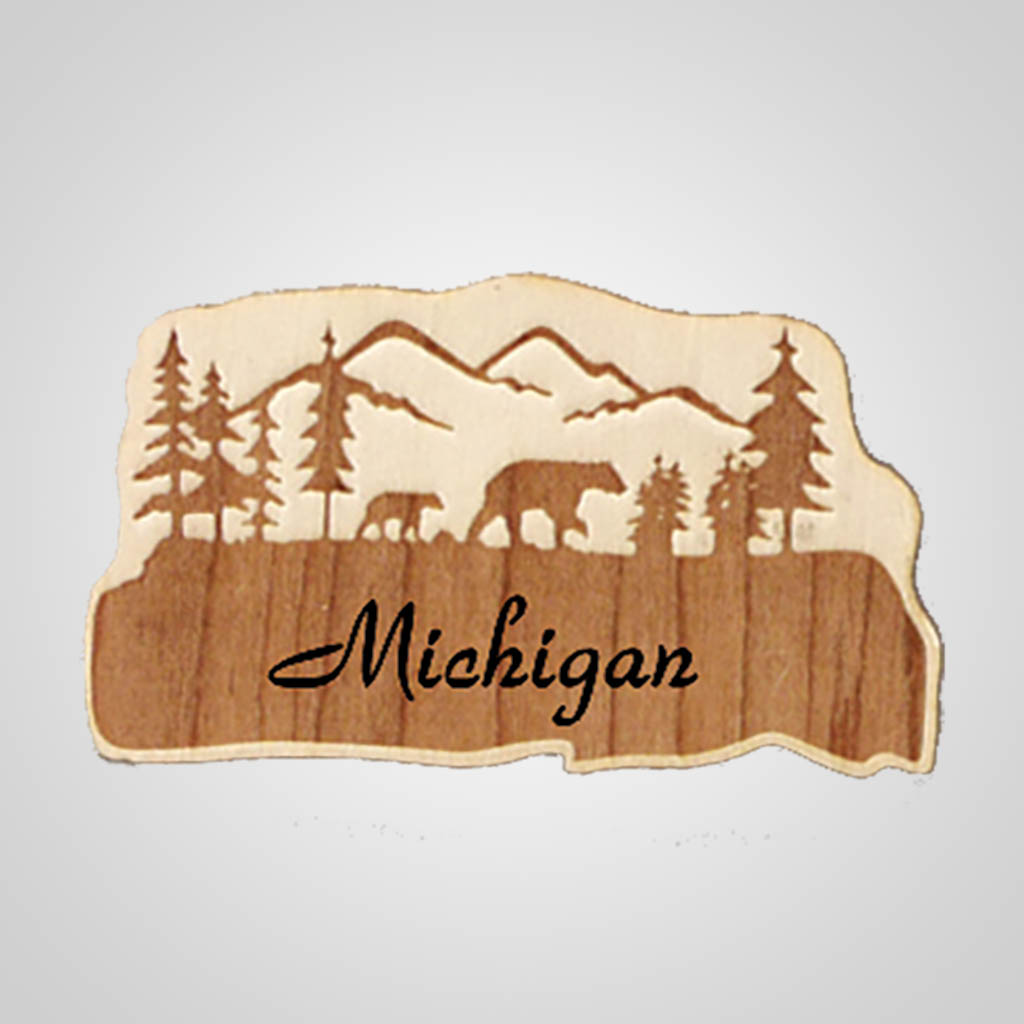 19250 - Bears Laser-Engraved Wood Magnet, Name-Drop
