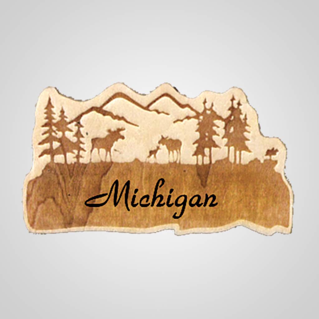 19251 - Moose Laser-Engraved Wood Magnet, Name-Drop