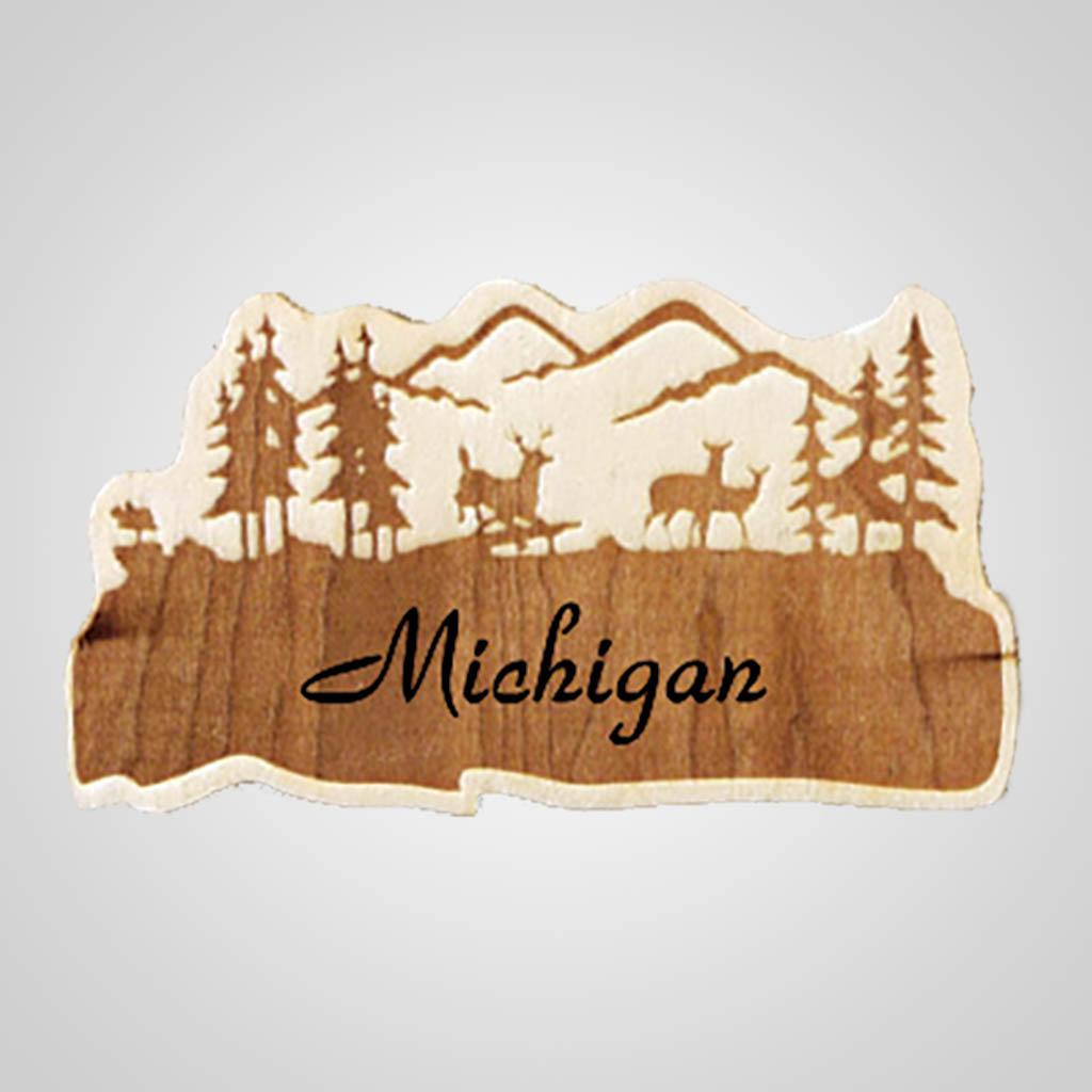 19252 - Deer Laser-Engraved Wood Magnet, Name-Drop