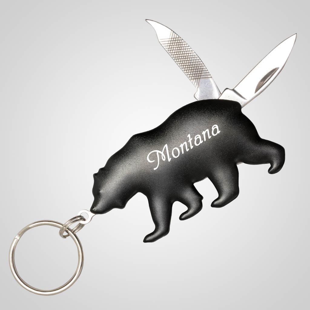 19256 - Bear Shaped Knife Keychain, Name-Drop