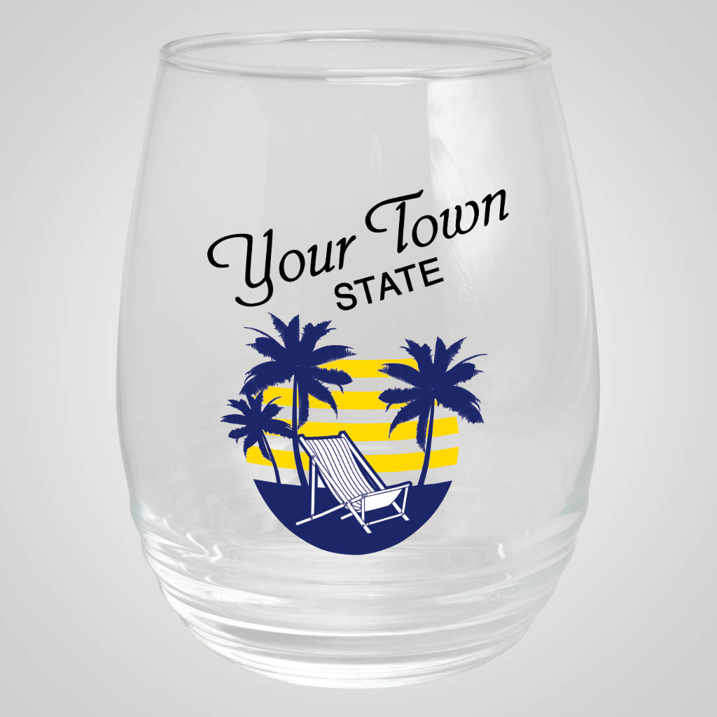19280PPM - Ribbed Stemless Wine Glass, Multi-Color Print