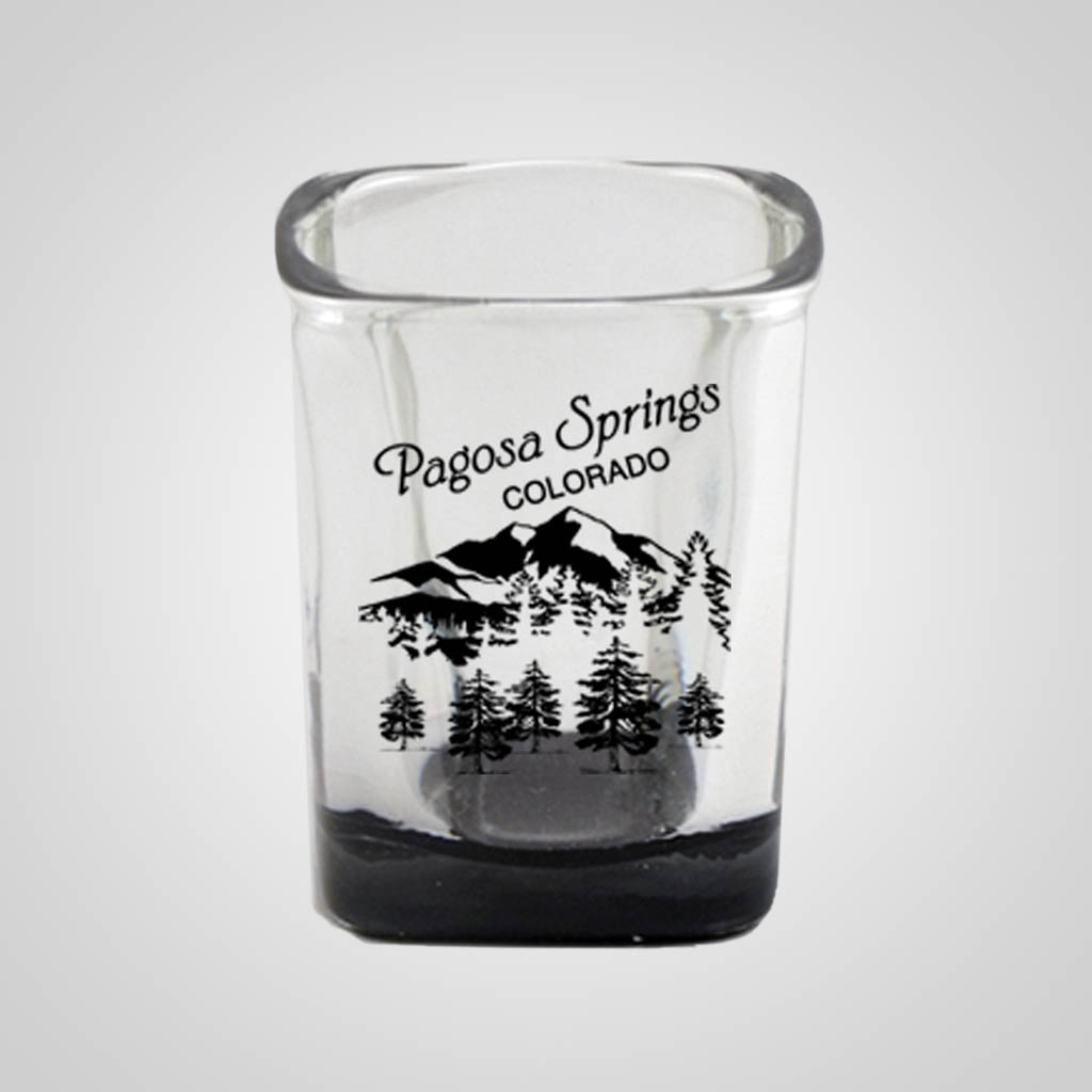19285JP - Square Black Bottom Shot Glass - 1 Color Print